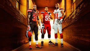 Donte Whitner, Alex Mack, Barkevious Mingo are posing for a picture: UNIFORM Cleveland Browns-070215-NIKE-FTR.jpg