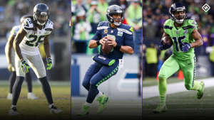 a group of football players on a field: Seahawks-uniforms-060319-Getty-FTR