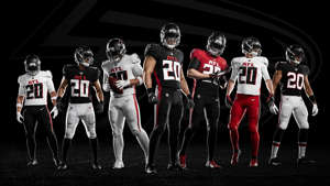 a group of people posing for the camera: Falcons-Uniforms-Falcons-FTR-040820