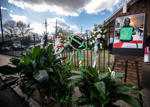a group of people in a garden: The funeral of Jadon Knox, the 10-year-old was fatally shot in Orange Mound, is held at New Life Missionary Baptist Church on Saturday, Feb. 1, 2020.