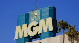 a sign in front of a building: a photo of the logo on the MGM casino building