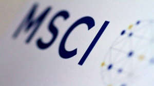 a close up of a sign: MSCI defers decision to increase India's weightage