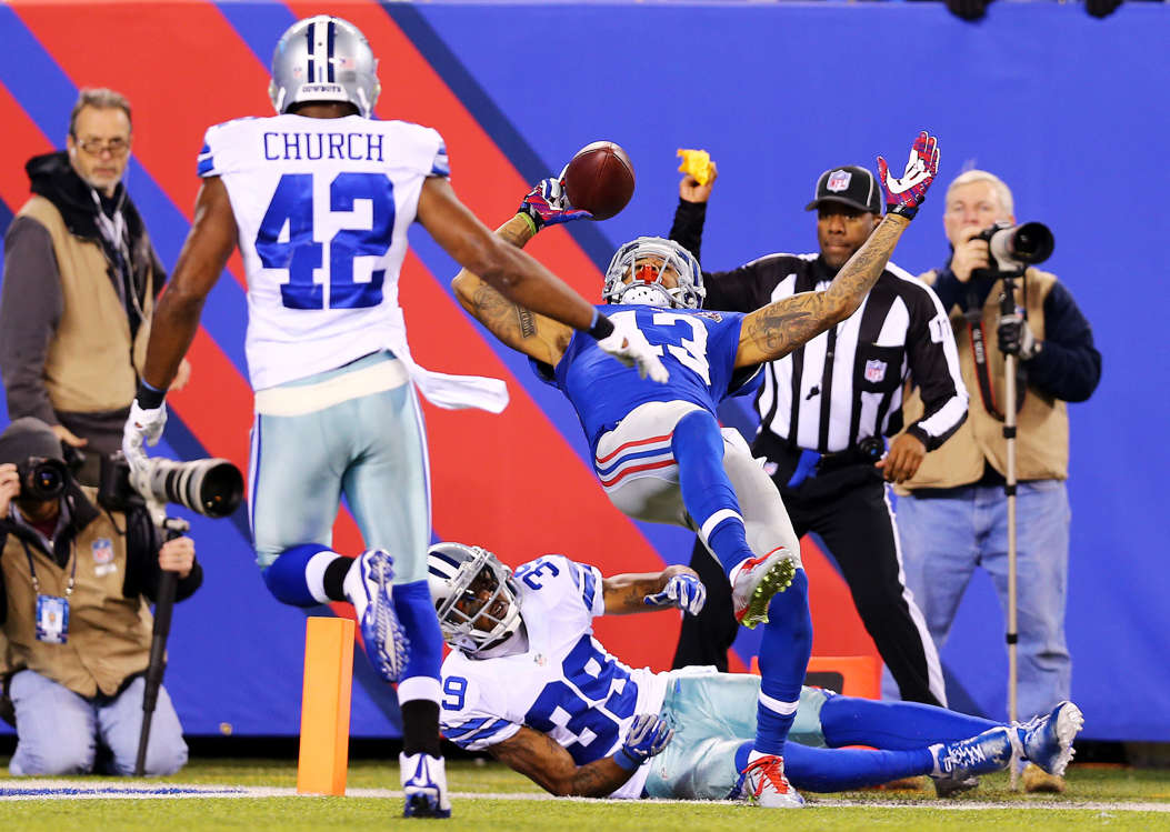 "Slide 8 of 41: Beckham had a rough first year in Cleveland in 2019, but there's a reason the Browns traded with the Giants to get him: When he's healthy and right, there are few receivers in the league more naturally gifted, particularly when it comes to being sure-handed. His 2014 catch against the Dallas Cowboys on ""Sunday Night Football"" was the best catch of the year, the decade, the century and probably of all time. Even the notoriously joyless, crotchety Tom Coughlin couldn't help but crack a wry smile at the absurdity of the play. Seriously, just watch this. It shouldn't be possible, but for Beckham, it was."