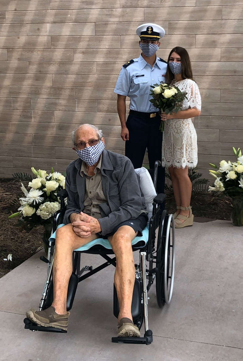 Samantha Crowel's grandfather Santo Giovanni Melchiorre, 96, was stuck in a rehab center in Fort Myers, Fla., when Crowel married Austin Kiesel on April 18. So Crowel and Kiesel brought the wedding to him.