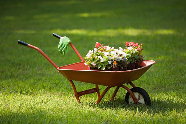 Slide 10 of 11: Upgrade your wheelbarrow by fitting a piece of plywood to the back end with wood cleats. This creates a flat surface that is perfect for potting. Now you can wheel your soil and plants to the garden all in one easy trip. Here's how to build your own backyard hanging garden.