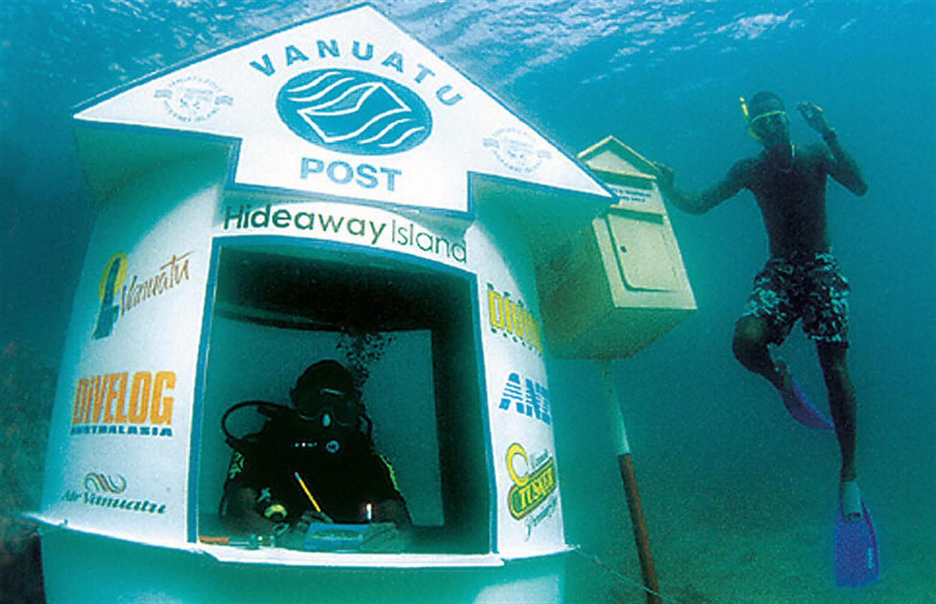 Slide 10 of 31: For many of us a visit to the post office is one of life's more mundane tasks, right? Not so in Vanuatu, where the world's first, and only, underwater post office lurks nine feet (2.8m) below the water's surface just off the coastline in the Hideaway Island Marine Sanctuary. Visitors can snorkel or scuba dive down to the fiberglass postal booth and drop off a special waterproof postcard here, which can then be sent to anywhere in the world.