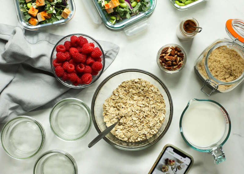 a table topped with different types of food: Carolyn A. Hodges