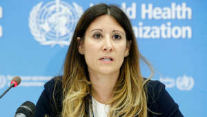 a close up of a woman: Maria Van Kerkhove, head of the World Health Organization's emerging diseases and zoonosis unit, speaks during a press conference following an emergency committee meeting over the new coronavirus in Geneva on Jan. 22, 2020.