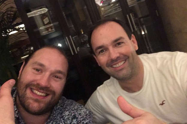 Tyson Fury smiling for the camera: Tyson Fury and Daniel Kinahan pose for a picture