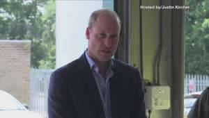 Prince William, Duke of Cambridge in a suit standing in front of a window