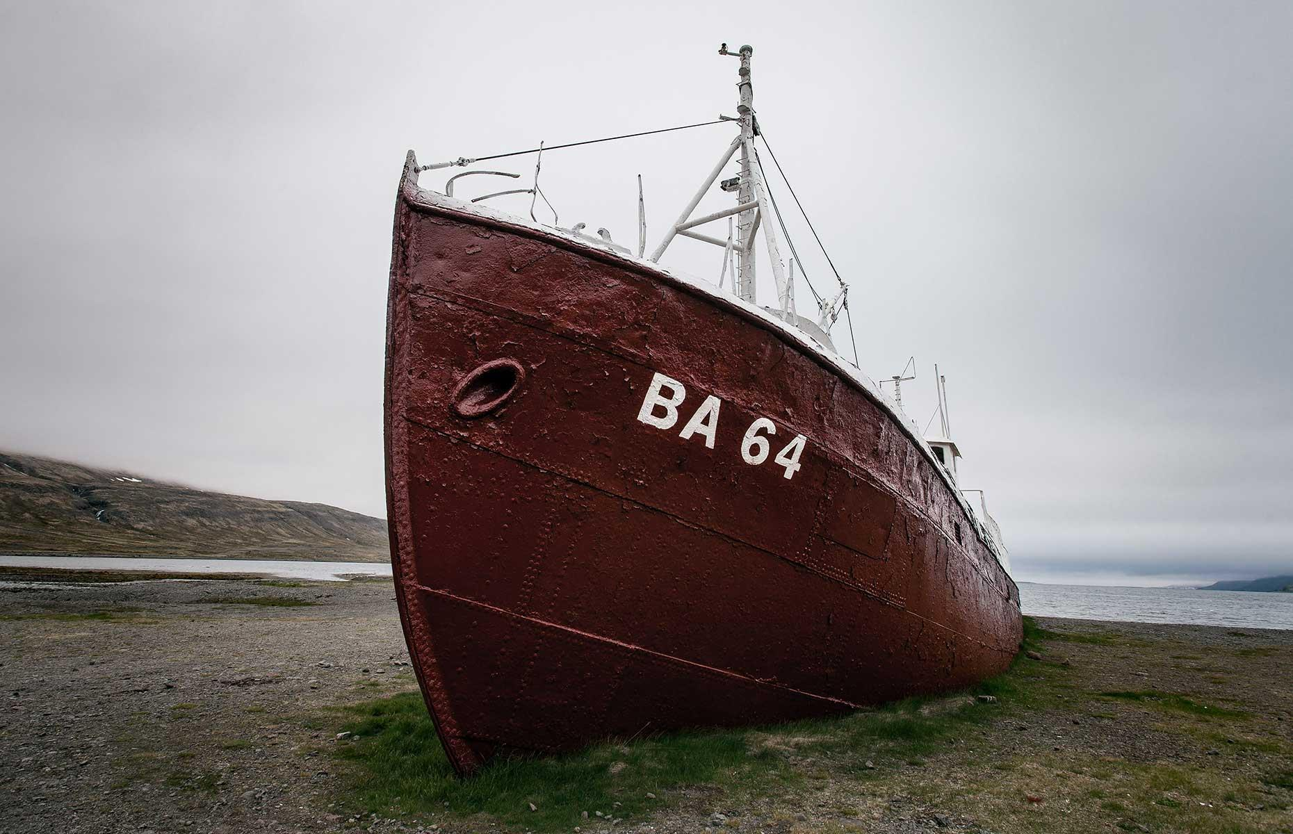 Slide 31 of 35: The ship has been out of service since 1981 and instead of being scrapped it was run aground in Skápadalur Valley – here it has remained ever since, drawing photographers keen to capture its beauty.