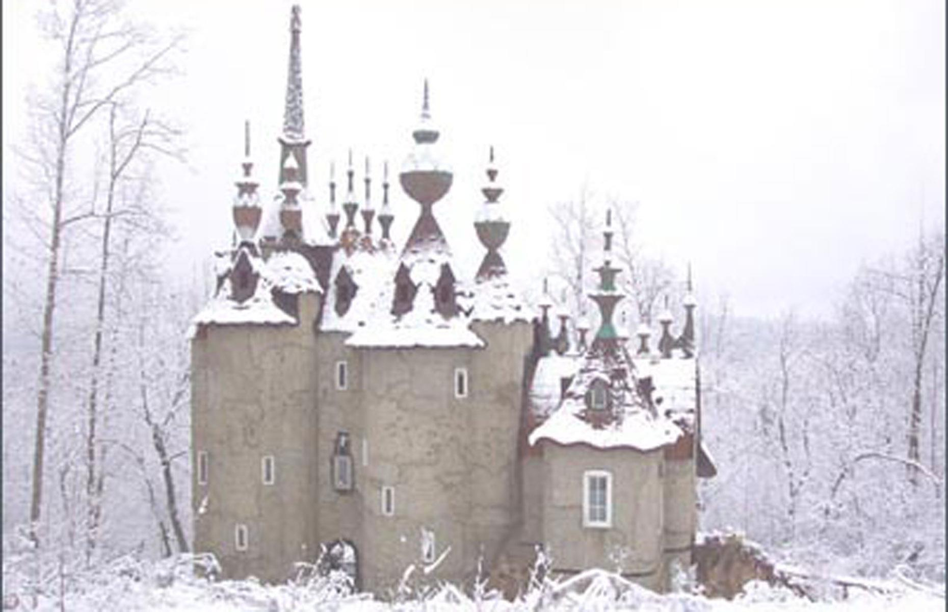 Slide 66 of 101: Straight out of a fairy tale, this fantastical castle in Rougemont was built by local sculptor Robert Mihaly to serve as his studio and home. The exterior was completed in 2005 but, for reasons unknown, Mihaly abandoned the property before he was able to finish the interior.