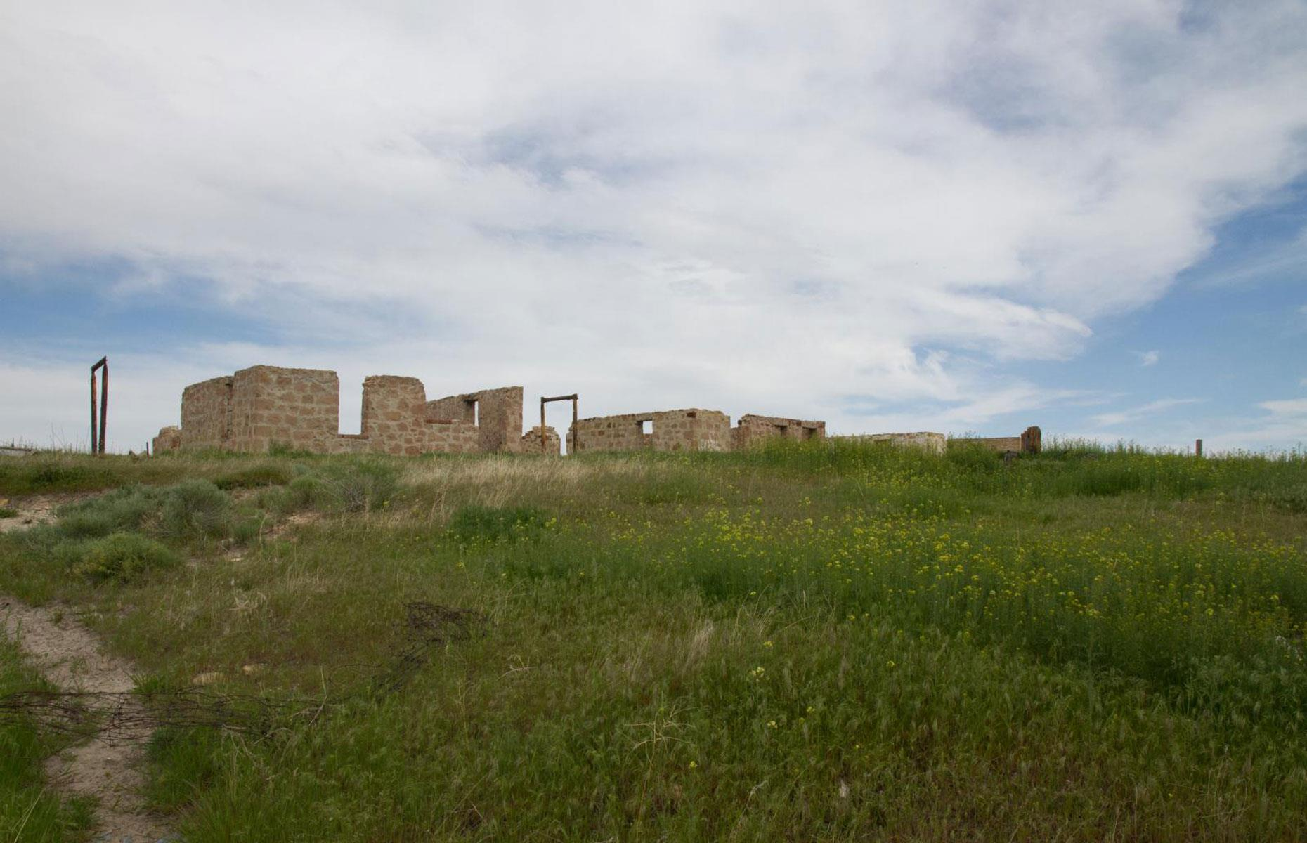 Slide 100 of 101: This remote ghost town near Thermopolis was founded in 1907. The coal mining town grew fast, and had a population of 20,000 at its peak. But the boom didn't last and Gebo was mostly abandoned in 1938 when mining in the area ceased.