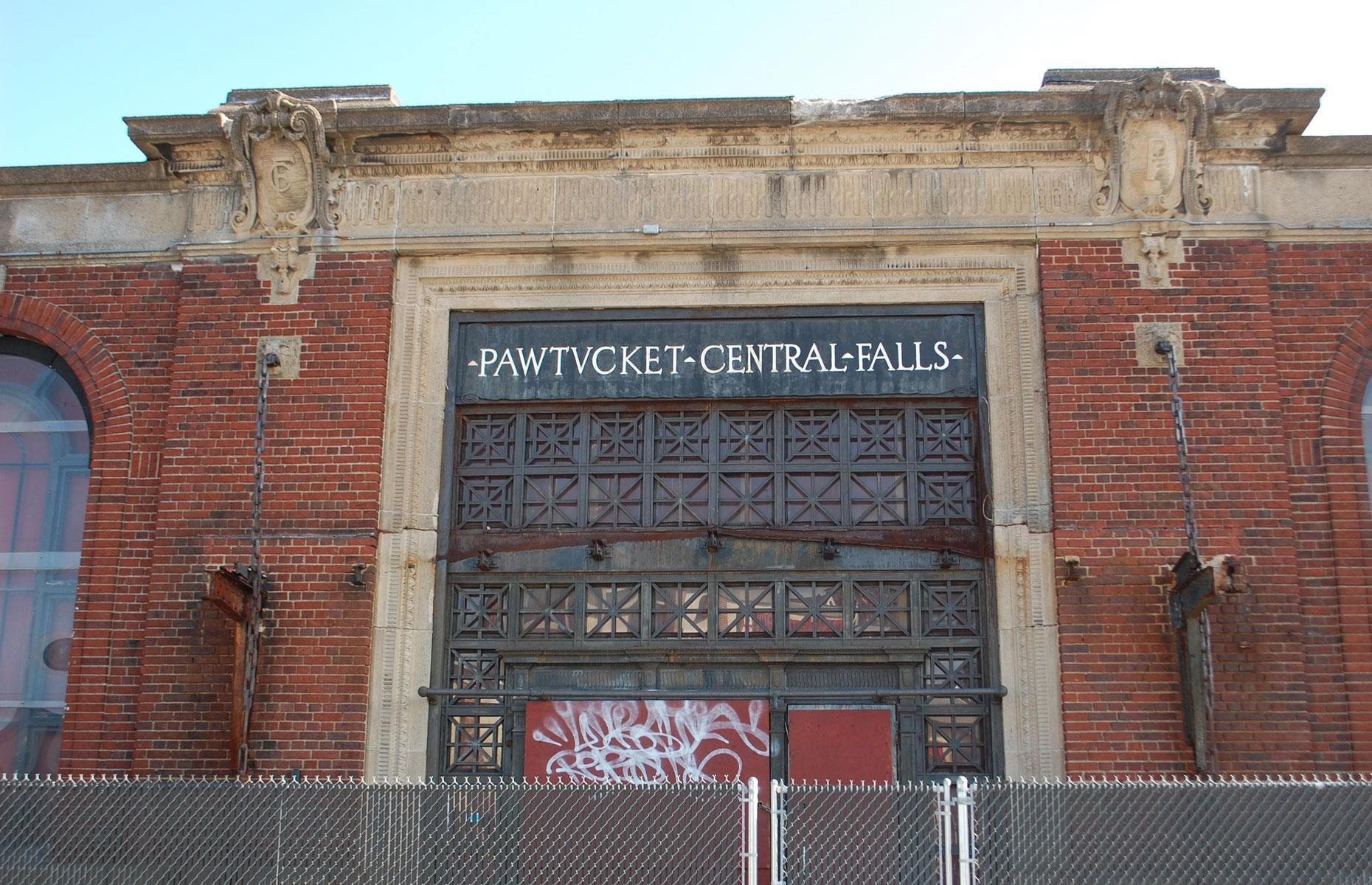 Slide 78 of 101: Pawtucket-Central Falls is a grand abandoned railroad station opened in 1916. After more than four decades of service, the Beaux-Arts station building was closed in 1959. Passengers could still access the platforms until the 1980s, when the last train served the station.
