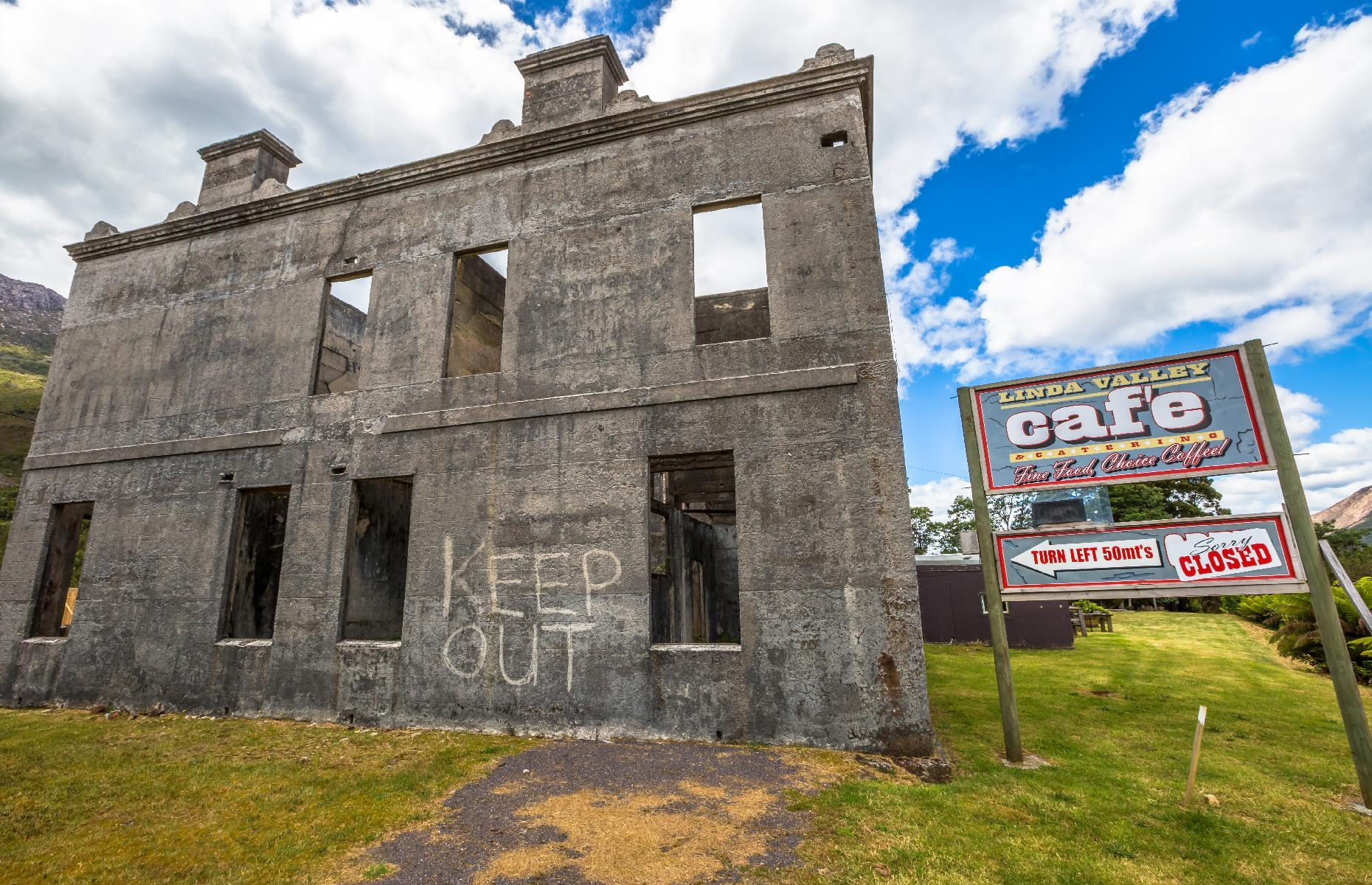 Slide 49 of 70: The hollow shell of the once-thrumming Royal Hotel is all that remains of Linda, a ghost town in western Tasmania. The abandoned mining town had thrived in the late 19th century, but when the mines closed, the settlement fell into decline.