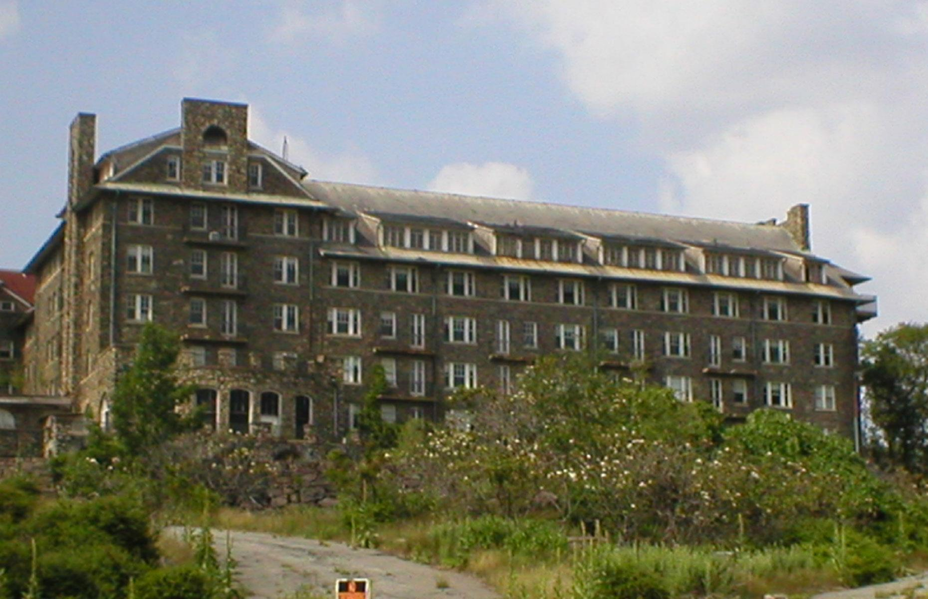 Slide 34 of 70: Another abandoned vacation resort in the Pocono Mountains, Buck Hill Falls was originally founded in 1901. Financial troubles and several fires led to the closure of the 400-bedroom resort in 1990.