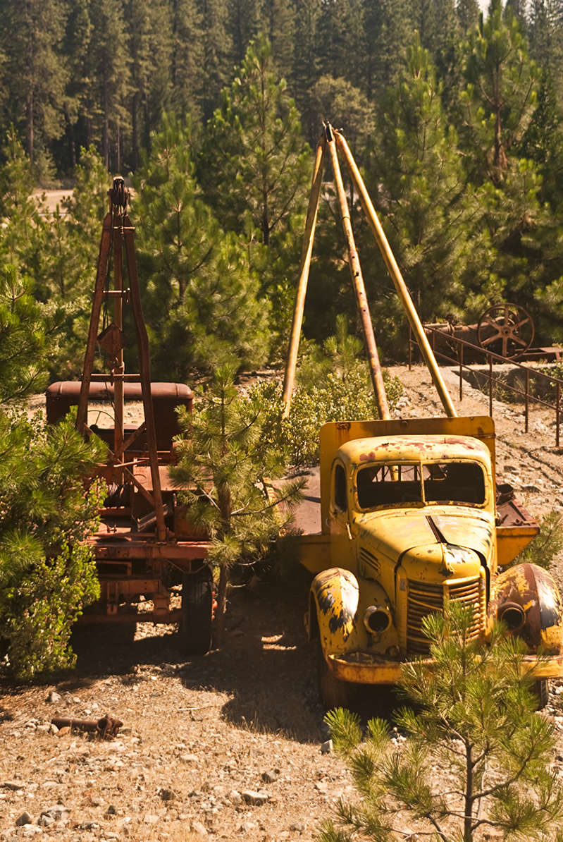 a tractor on display at a forest: In its heyday, Empire Mine produced 5.8 million ounces of gold.