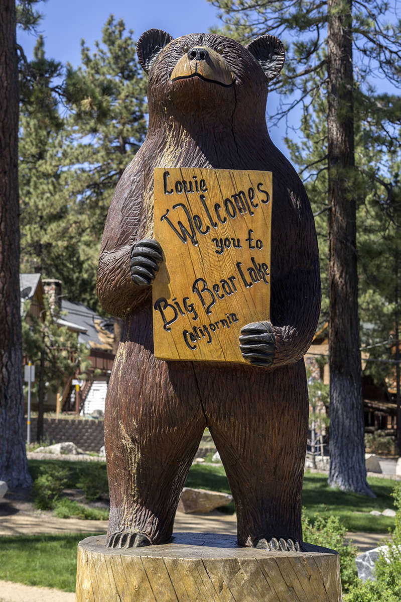 a statue of a bear: Southern California's Big Bear is full of outdoor activities.