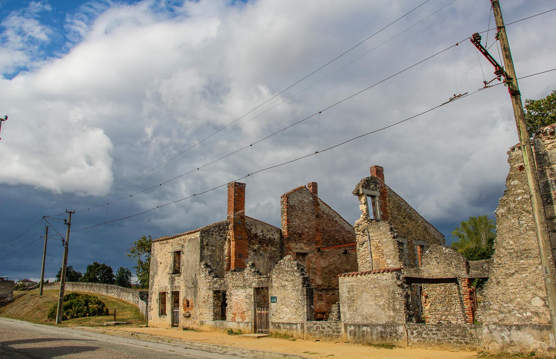 Slide 44 of 68: The village of Oradour-sur-Glane, in France, is a gut-wrenching reminder of the atrocities of the Second World War. On 10 June 1944, 642 inhabitants were shot or burned alive by the German forces.