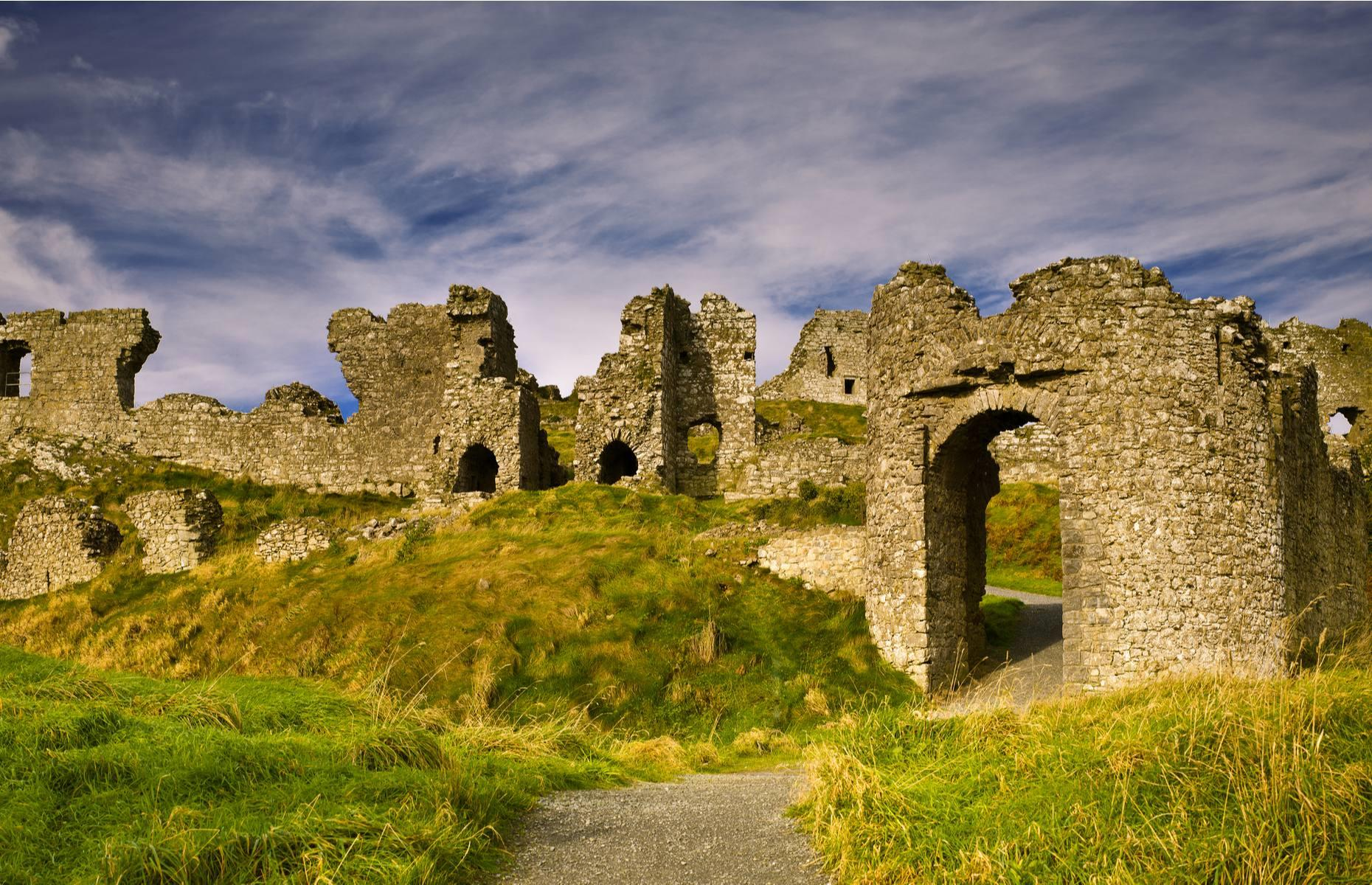 Slide 20 of 29: Built high on a rocky outcrop west of Dublin, the ruins of Dunamase can be seen from miles around. The castle was built by the Normans in the 12th century and was an important stronghold.