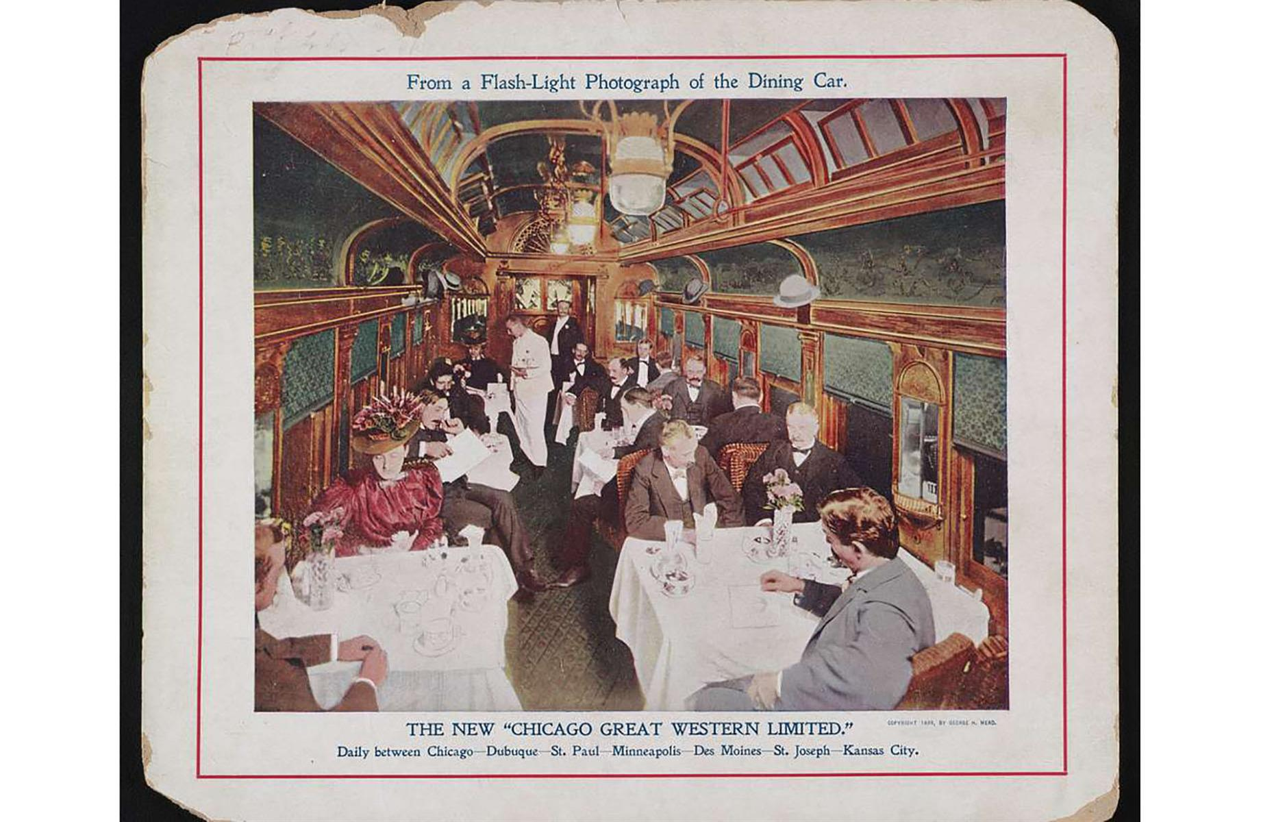 Slide 6 of 32: Chicago Great Western Railway was a relatively small railroad chain, its routes mostly connecting Chicago and the Twin Cities. What it lacked in size though, it made up for in elegance and glamor. The daily Great Western Limited trains connecting Chicago and Kansas City didn't skimp on lavishness either, as seen in this photograph of the dining car, captured in 1899. Dedicated dining cars were already a normal part of long-distance trains by the mid-1880s.