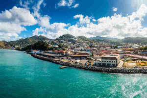 a large body of water: Saint George-Harbour, Grenada. (Photo by Westend61/Getty Images)