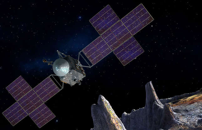 """Slide 31 of 34: Exploiting the asteroid belt for resources such as water and rare metals could be a catalyst for humans colonising other planets and help save the environment on Earth. Though the technology is in its infancy, Japanese spacecraft Hayabusa-2 successfully landed on an asteroid in 2018 and spent a year and a half taking samples. Its first full container of space rock landed in Australia on 5 December 2020in """"perfect"""" condition. The next stage of their investigation involves collecting samples from Mars' largest moon, Phobos. NASA is also working on a spacecraft that will explore an asteroid called Psyche, which is thought to contain resources worth an incredible $10,000 quadrillion (£8,000 quadrillion)."""