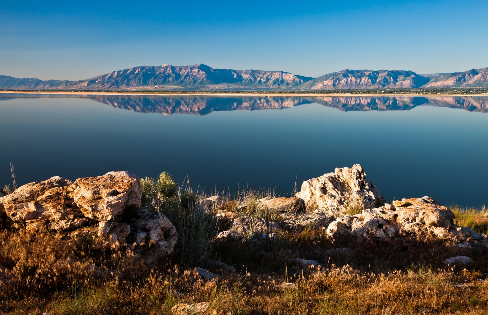 Slide 26 of 37: The Great Salt Lake in Utah has reportedly seen its volume drop by nearly half since the late 19th century. This is largely as a result of periods of drought and people diverting the water from the streams that flow into it.