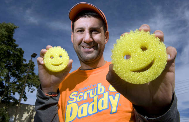 Slide 26 of 31: American inventor Aaron Krause created his clever multitasking sponge with a smiley face in 2006 while developing a foam buffing pad. The car detail expert came up with an extra-special sponge that turns soft in warm water and hard when it's drenched in cold water.