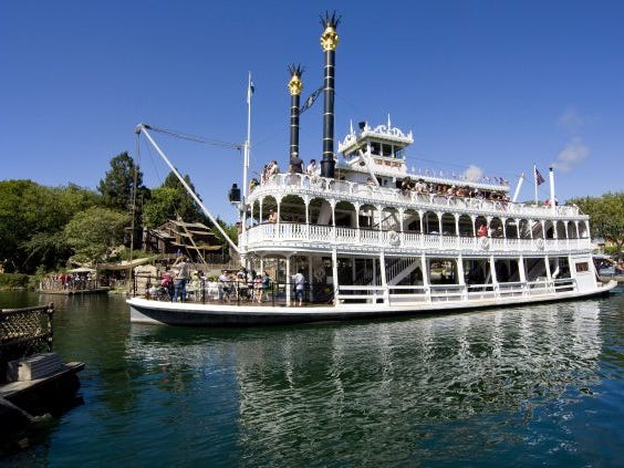 """Slide 14 of 23: When Disneyland opened on July 17, 1955, the Mark Twain Riverboat was considered a top-of-the-line attraction.In the park's early years, guests had to buy entry ticket books that limited the number of top-tier attractions they could experience. Each attraction was based on an """"A""""-through-""""E"""" scale, with """"E"""" being the top rides at the park.When the """"E"""" ticket was introduced in 1959, Mark Twain Riverboat was one of the 11 attractions on the list."""