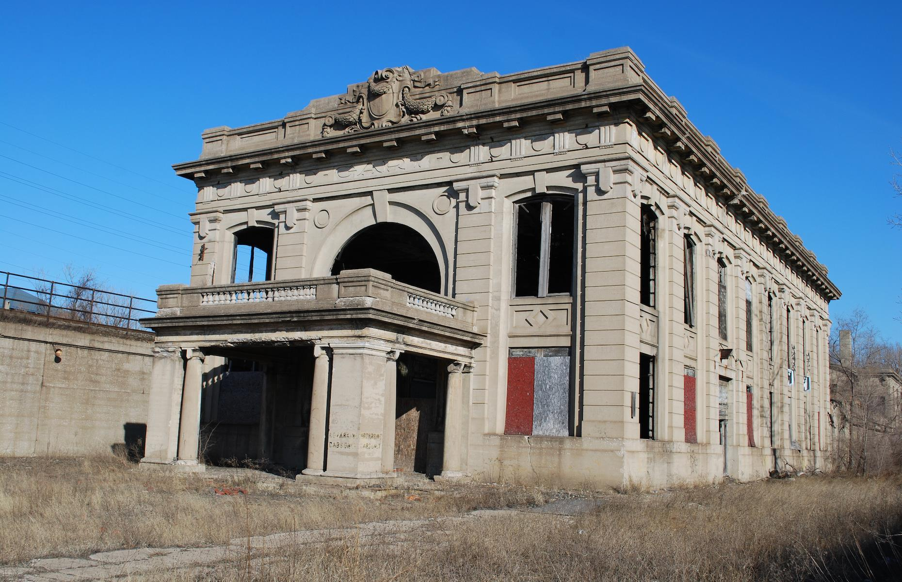 Slide 7 of 33: Now left to decay and decline, this still impressive railway station can be found in Gary, Indiana. Built in 1910 in classic Beaux-Arts style, just a few years after the town itself was founded, the station was used primarily to aid the booming steel industry. The station served several major railway lines, but was shuttered in the 1950s as local industry declined.