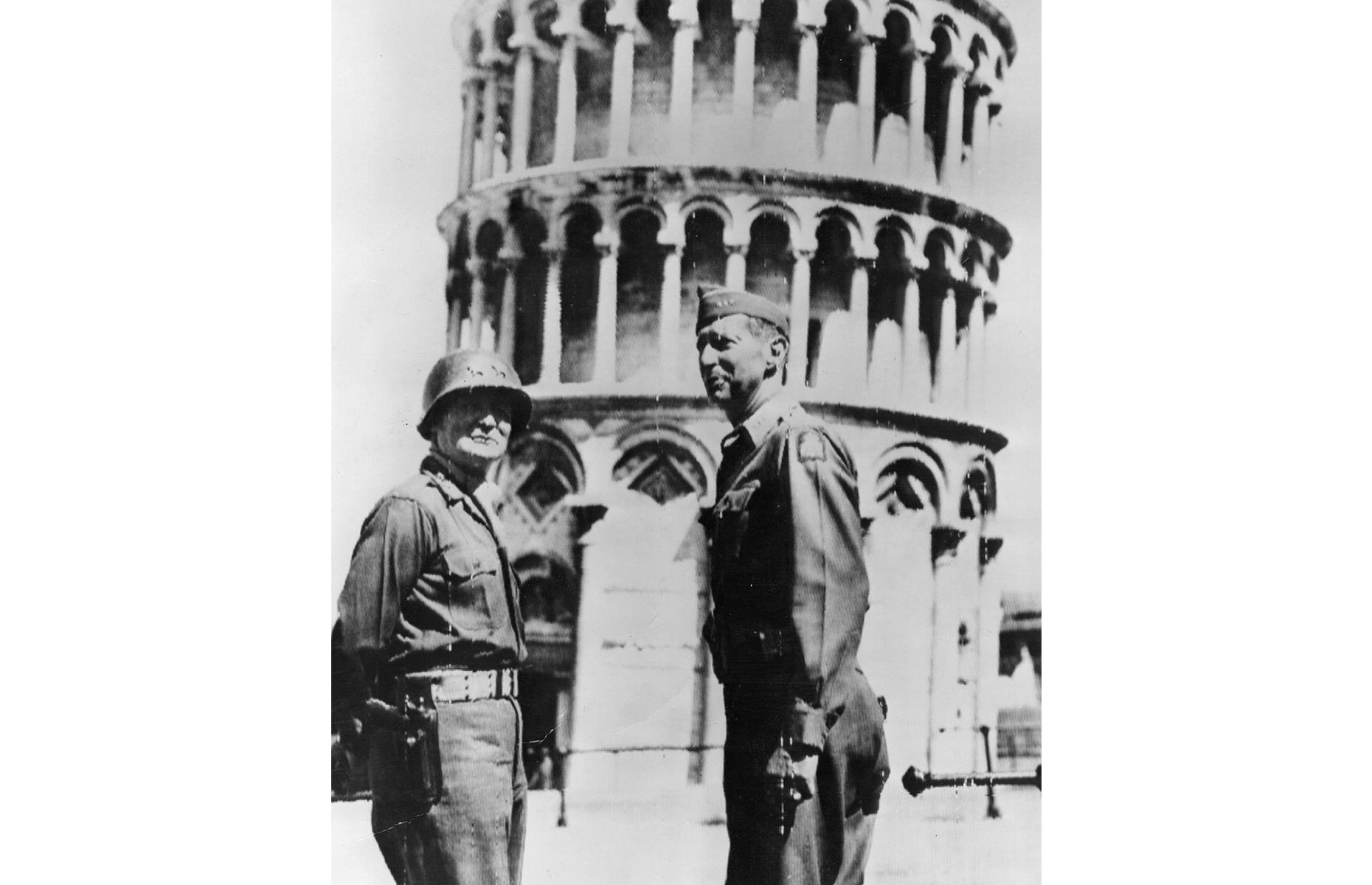 Slide 8 of 32: The Leaning Tower of Pisa is a mind-boggling feat of medieval architecture and a symbol of one of Italy's prettiest cities. But its life was almost cut short. Leon Weckstein, a GI in the United States Army, was under orders to demolish the beautiful tower if necessary, since it was thought that German forces occupied it. The tower's future hung in the balance. It's pictured here in 1944 after the undamaged tower had finally fallen to the Allies.