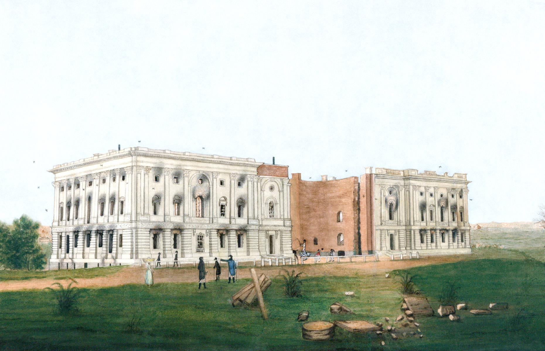 Slide 31 of 32: The Capitol Building suffered a similar fate during the War of 1812. It too was set alight by the British during the Burning of Washington in 1814, and was left almost completely devastated. This painting by American artist George Munger shows the mighty building in the aftermath of the blaze – you can make out the blackened walls and the hollow shell of the rotunda without a façade or a roof. Take a look at 50 of America's most important landmarks here.