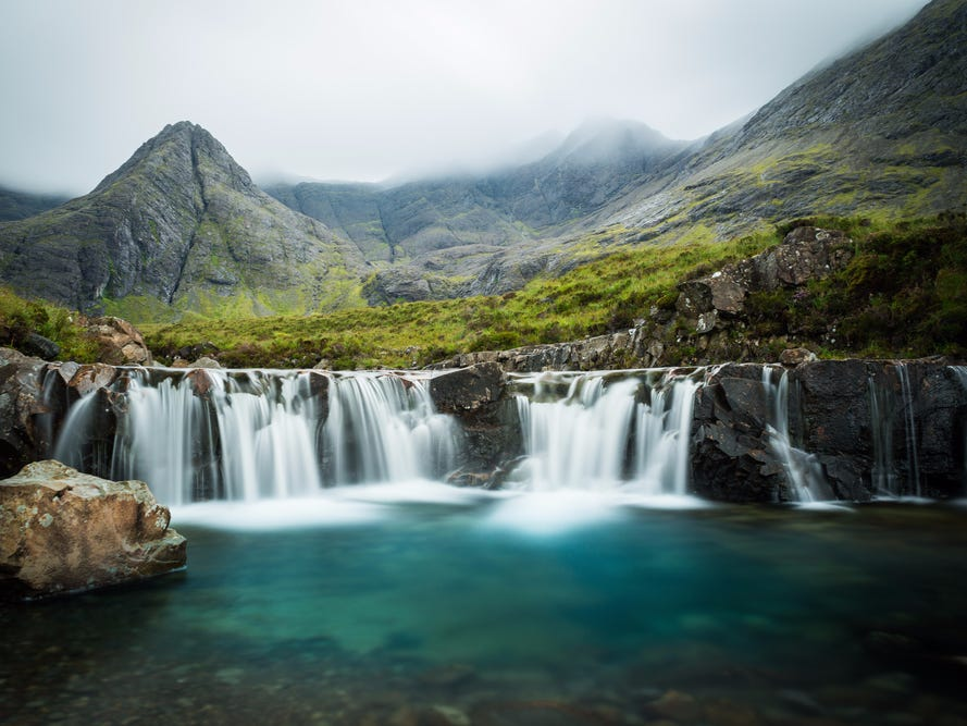 Slide 41 of 51: Skye's enchanting Fairy Pools are only accessible on foot via the Glen Brittle forest — but it's worth the hike to see the clear waters of these natural pools in person.