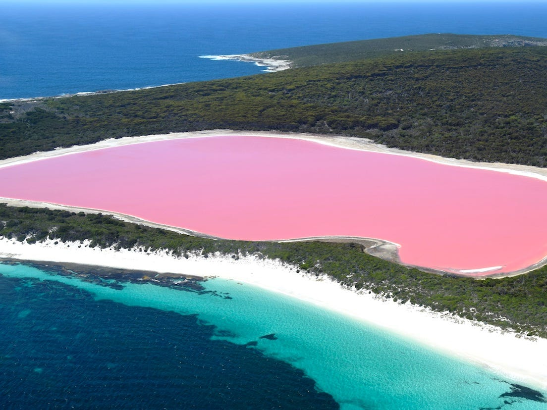 Slide 11 of 51: The bubble-gum pink lake defies science: no one knows why it's as pink as it is, or why the color is actually stronger the further from the lake you are. Most believe that it's caused by a specific algae in the lake that is drawn to its high salinity, as well as a pink bacteria known as halobacteria.Whatever the reason for its unique hue, the lake sits on Middle Island, an island on the Recherche Archipelago that is used solely for research purposes, and can only be viewed by helicopter.