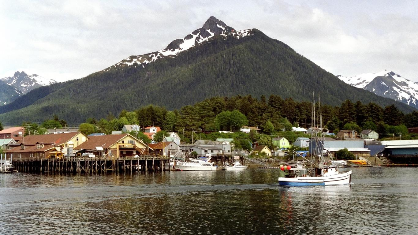 Slide 16 of 51: Sitka is rich with history (including time spent as a Russian possession) and just so happens to sit within eyeshot of the majestic Mt Edgecumbe, a dormant volcano that resembles a mini Mt. Fuji. Explore the wilderness of Baranof Island before settling in to watch the sun sink over the local islands.