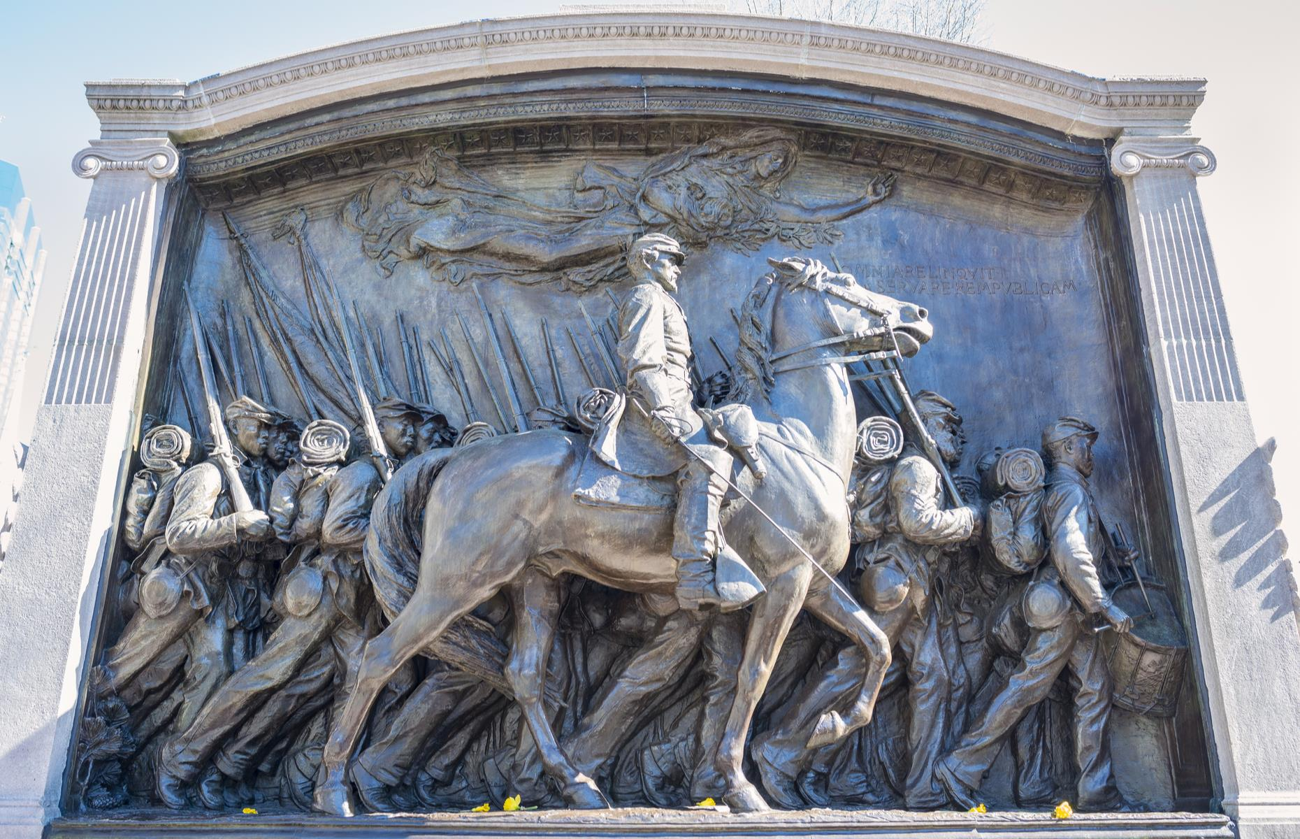 Slide 42 of 51: This national historic site is dedicated to the African American peoples of Boston's Beacon Hill neighborhood, who were leaders in the struggle against slavery in the 19th century. The Black Heritage Trail winds through the area, taking in Robert Gould Shaw and the 54th Regiment Memorial (pictured), a key landmark dedicated to an early all-black regiment that served in the Civil War.