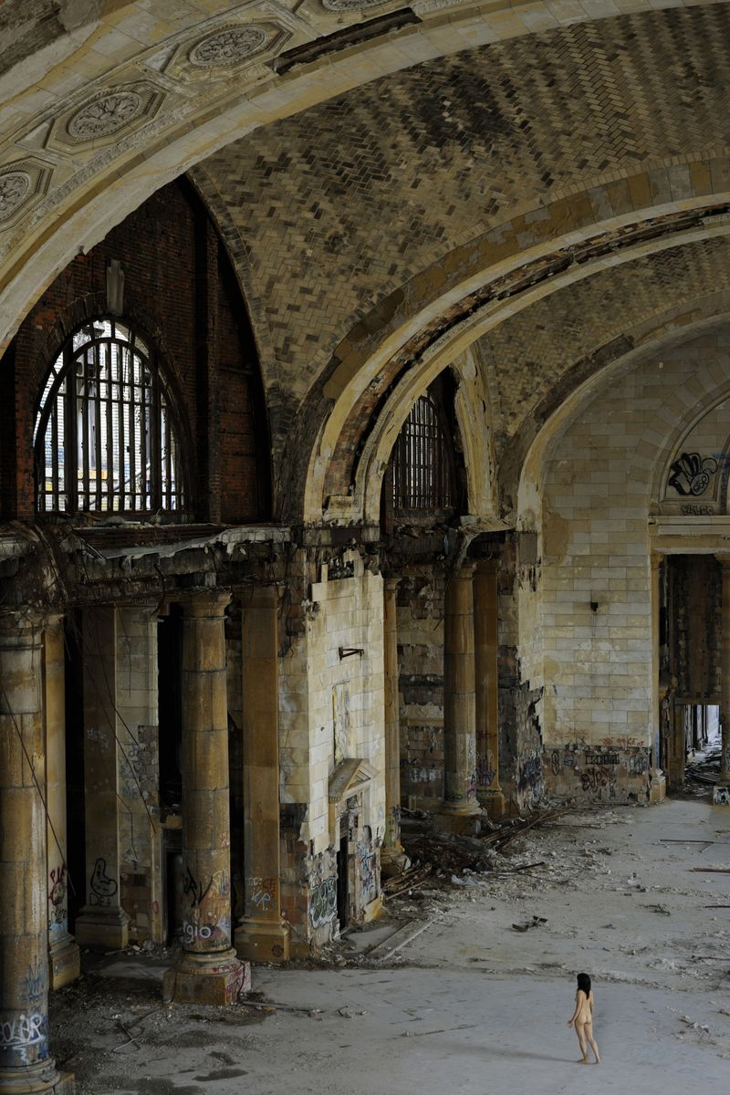 Slide 32 of 38: Recognize this gorgeous building? That's because it was used in Eminen's movie, 8 Mile. The Detroit train station, built in 1913, ultimately closed up shop in 1988.