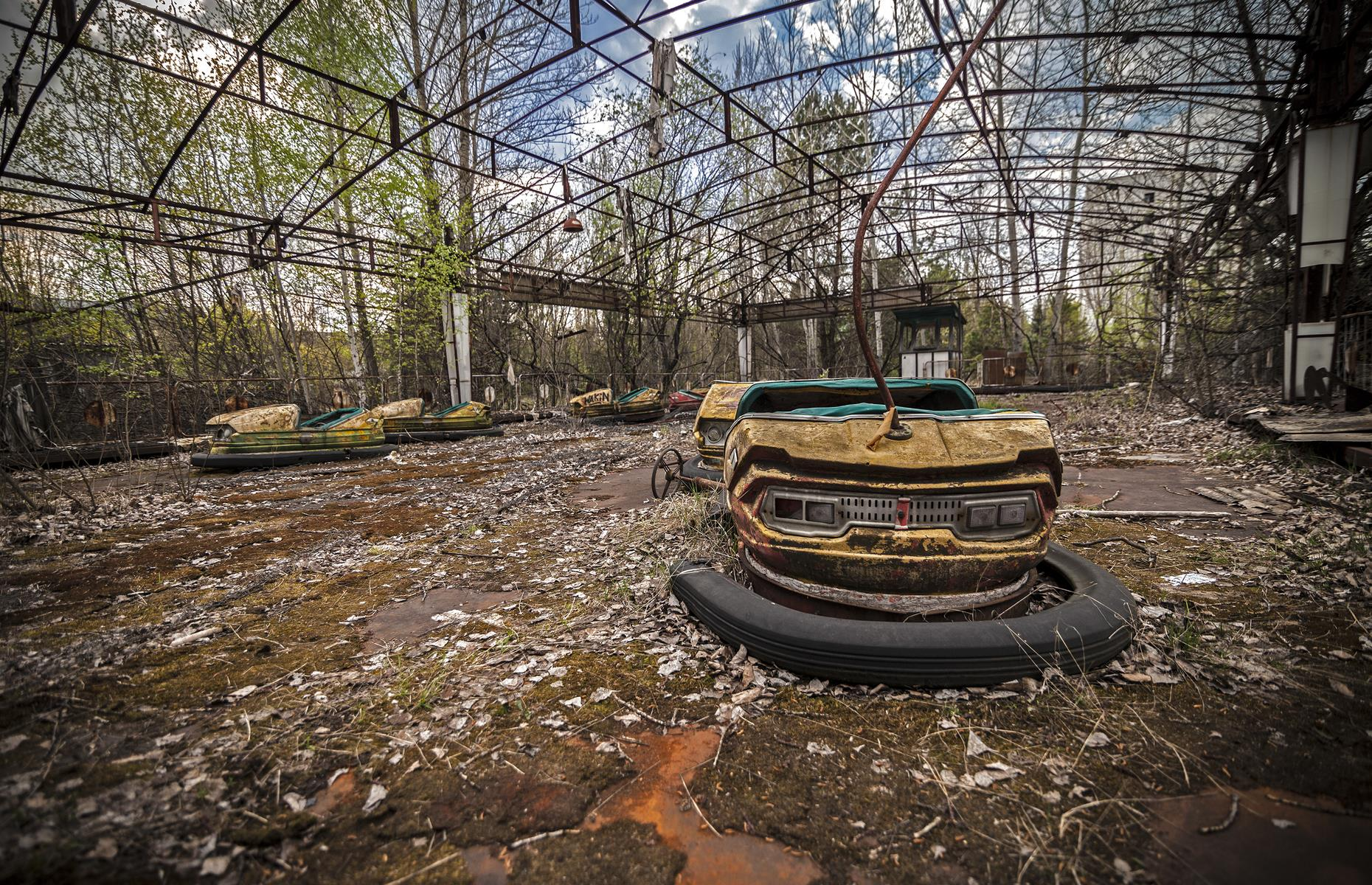 Slide 48 of 51: The creepy scenes at this amusement park in Pripyat paint a stark picture of the impact of the 1986 Chernobyl disaster. The amusement park was supposed to open four days after the explosion, but never welcomed any guests in what was regarded as a model Soviet town.