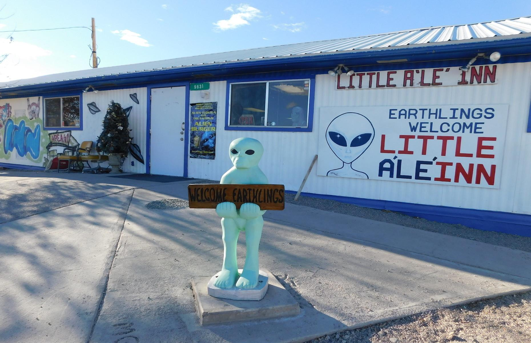 """Slide 10 of 51: The small nearby town of Rachel on the so called """"Extraterrestrial Highway"""" is a key tourist attraction. A popular stopover among UFO hunters isthe alien-themed restaurant Little A'Le'Inn (pictured)."""