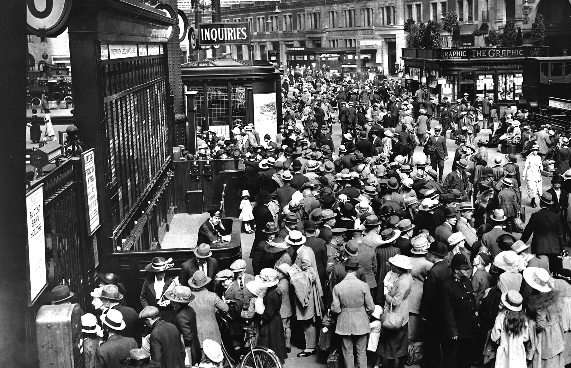 "Slide 22 of 35: The pandemic saw some rail routes altered or halted altogether. But during the interwar years, train travel boomed, as shown by this crowd pictured at Waterloo Station in 1922. In fact, in the book British Tourism, these are described as the ""glory years of steam trains"", with vacationers enjoying ""relatively fast and efficient services"". Take a look at these stunning photos of the world's most beautiful train stations."