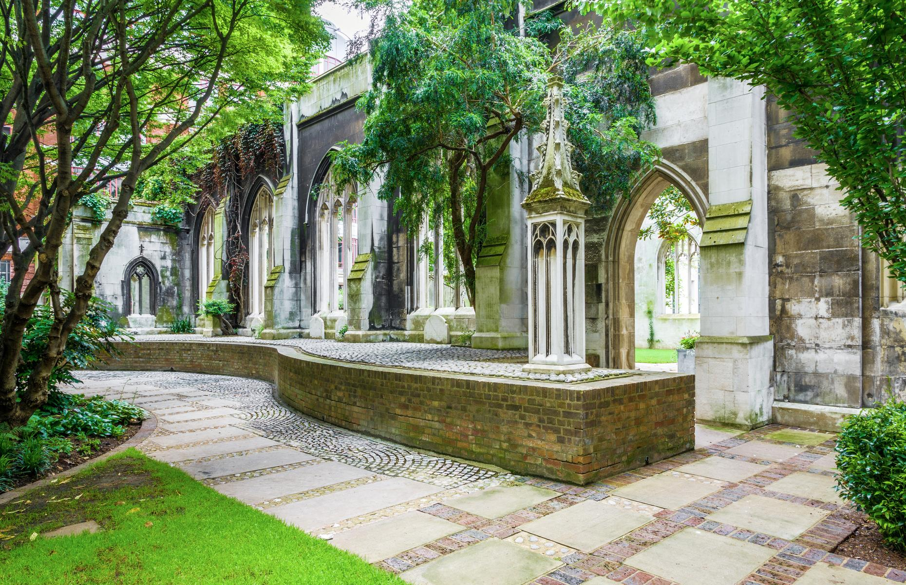Slide 31 of 64: St Dunstan's remained tattered until the 1960s, when the city council decided to convert it into a public garden. Now the church is dotted with benches, trees and fountains, and acts as a serene bolthole away from the bustle of the city.