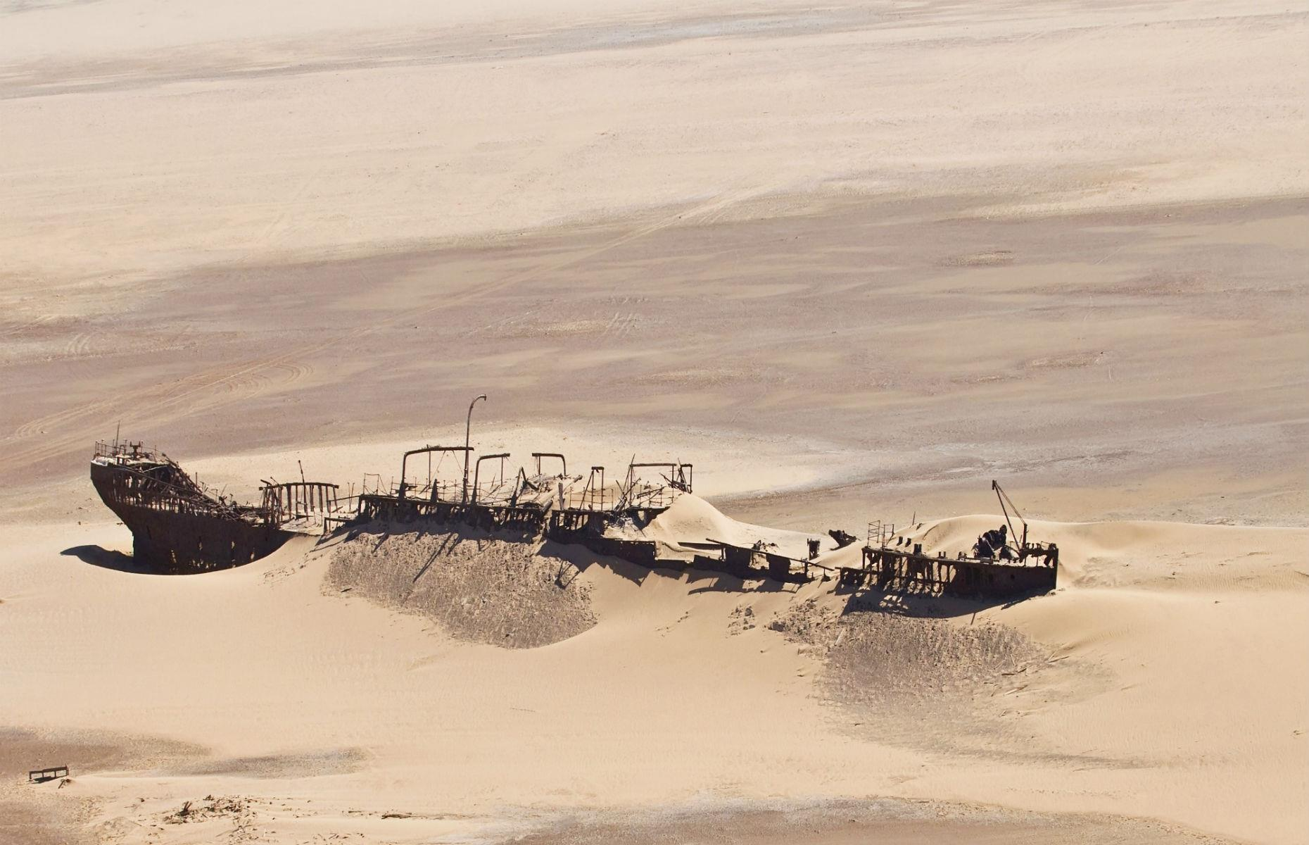 Slide 6 of 64: Namibia has little shortage of haunting shipwrecks, with hundreds of them scattered along the country's sparse Skeleton Coast. One of the most striking is Eduard Bohlen, a German cargo ship that ran aground in the early 20th century on its way from Swakopmund to South Africa's Table Bay.