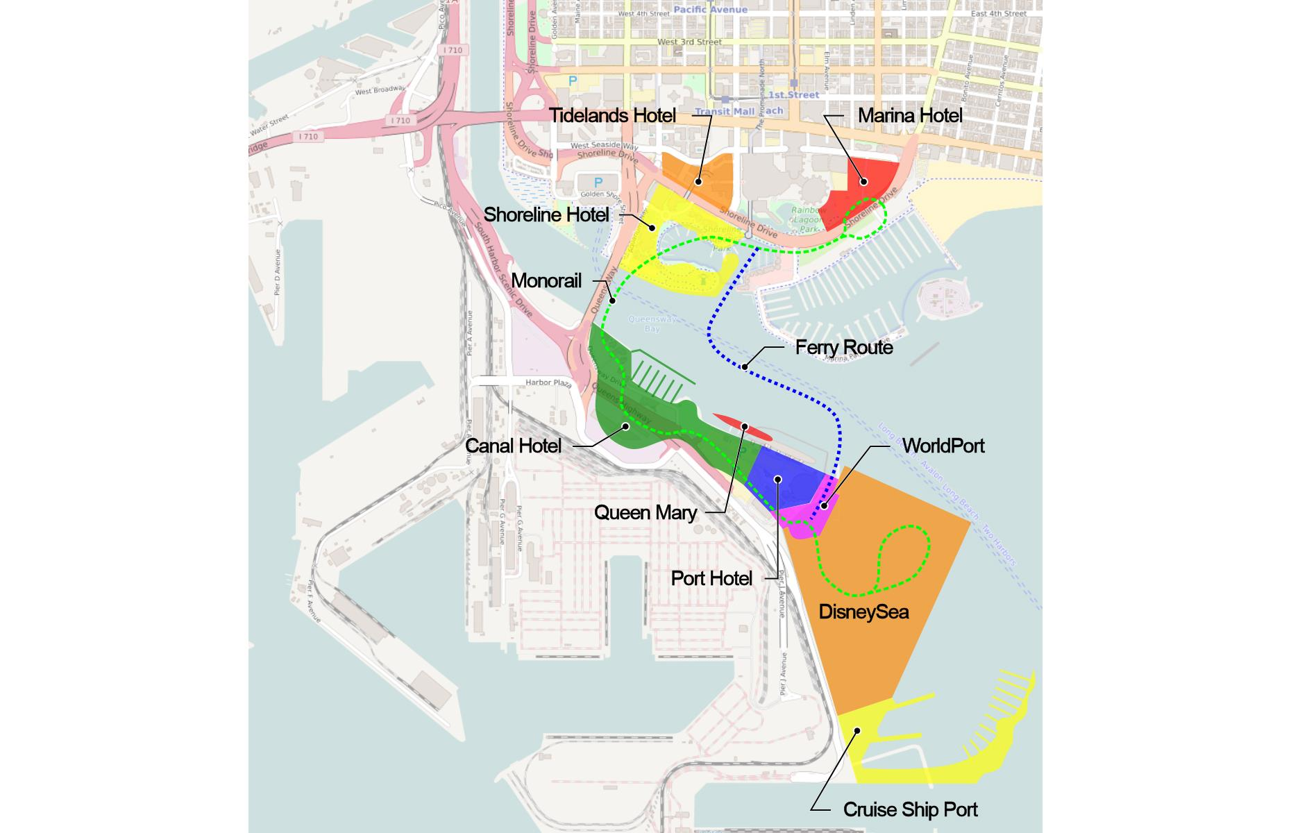 Slide 10 of 28: Port Disney, planned for Long Beach in California, was another failed Disney endeavor. The concept, which was introduced in 1990, would have sprawled across 443 acres and included a cruise port and theme park (named DisneySea), plus shops, resort hotels and entertainment. However, the project was met with disapproval from locals who were concerned about the site's environmental impact and heavy traffic.
