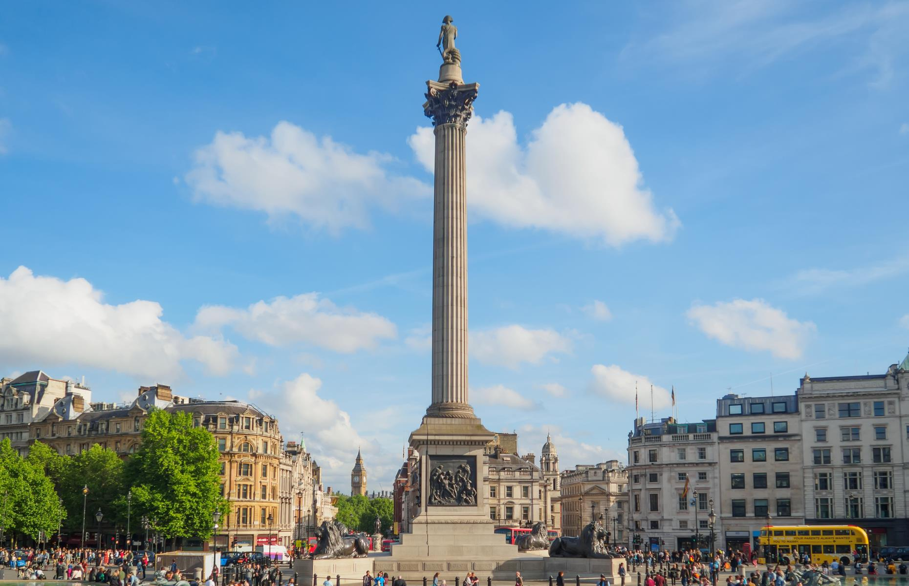 Slide 4 of 28: Nelson's Column (pictured) dominates London's Trafalgar Square and immortalizes the lauded Admiral Horatio Nelson, who died at the Battle of Trafalgar in 1805 having defeated the French. It almost never existed, though. Politician and officer Sir Frederick William Trench wanted to commemorate the battle with something rather different: a gargantuan pyramid structure larger than St Paul's Cathedral. Luckily Trench's wishes were never fulfilled and the tribute to the late admiral was built instead.