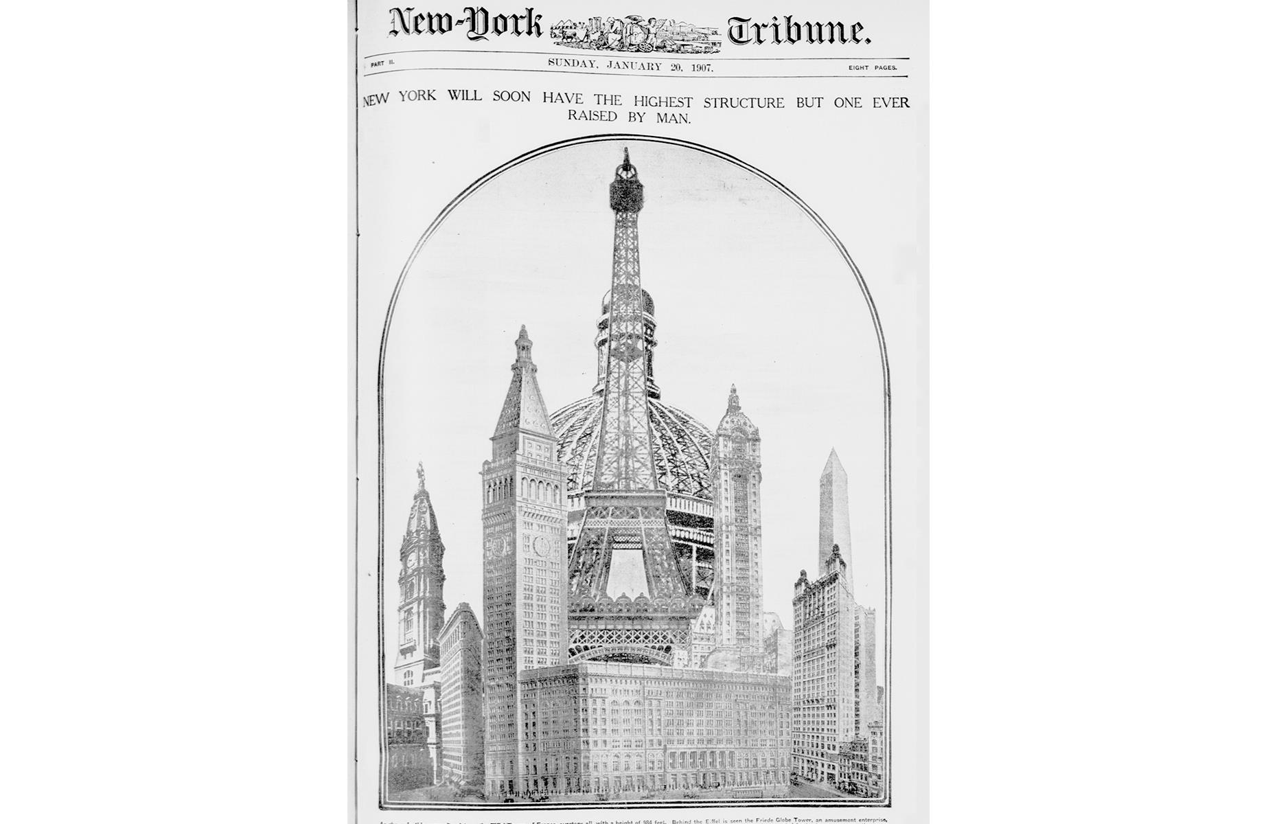 Slide 19 of 28: Coney Island draws millions of visitors each year with its rides, food stands and sandy beach –and another striking structure almost joined its heady mix of amusements. In the early 1900s, architect Samuel Friede announced plans for the Coney Island Globe Tower (pictured). The 700-foot (213m) building would have included an enormous sphere, containing everything from gardens and restaurants to a circus and a huge theme park.