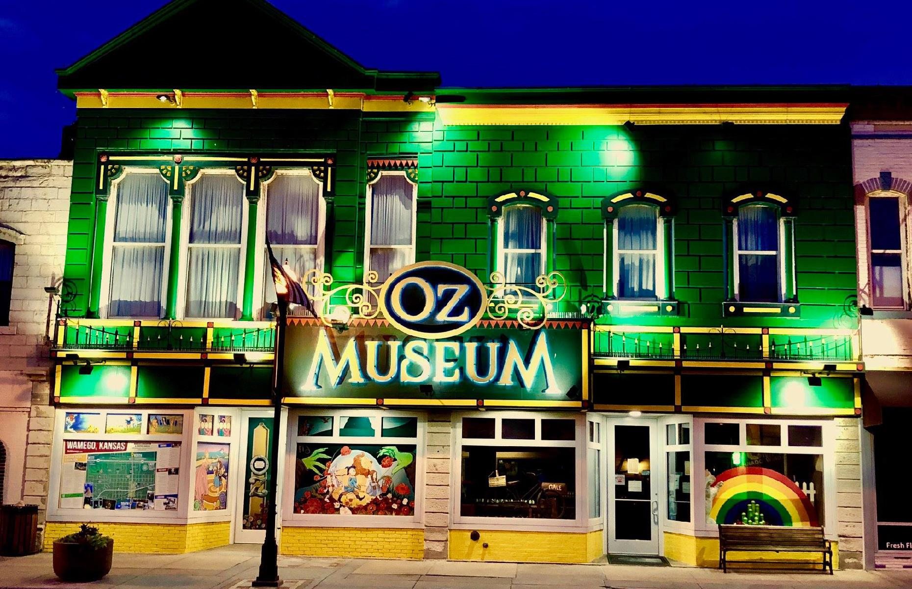 Slide 33 of 101: Along the way, the quaint Kansas town of Wamegohas oodles of attractions dedicated to 1939 filmThe Wizard of Oz, famously set in Kansas. It plays host to the magicalOz Museum (pictured), with its movie posters and memorabilia,and typically holds the OZtoberFest with costume contests and a classic car show (2020 updatesare listed on the website). In Kansas City,colorful street art covers a four-block area known asthe Avenue of Murals.