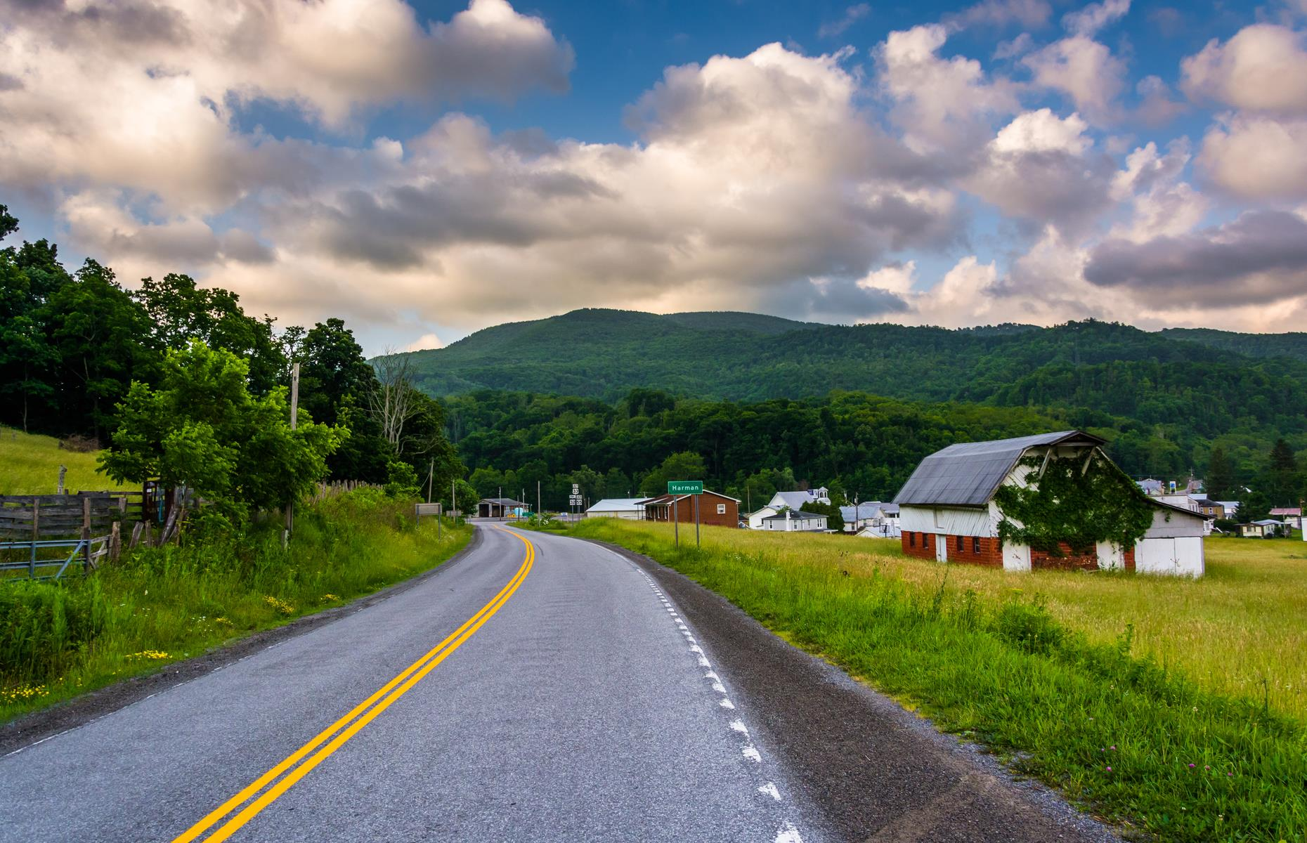 Slide 96 of 101: Beginning in Fairmont, this route to Harman travels via the small city of Thomas, where it joins the scenic Route 32 (pictured), carving its way through the Canaan Valley. The trip needs at least two hours and 10 minutes of driving time and whizzes through 85 miles (137km) of green scenery, punctured by pocket-sized towns.