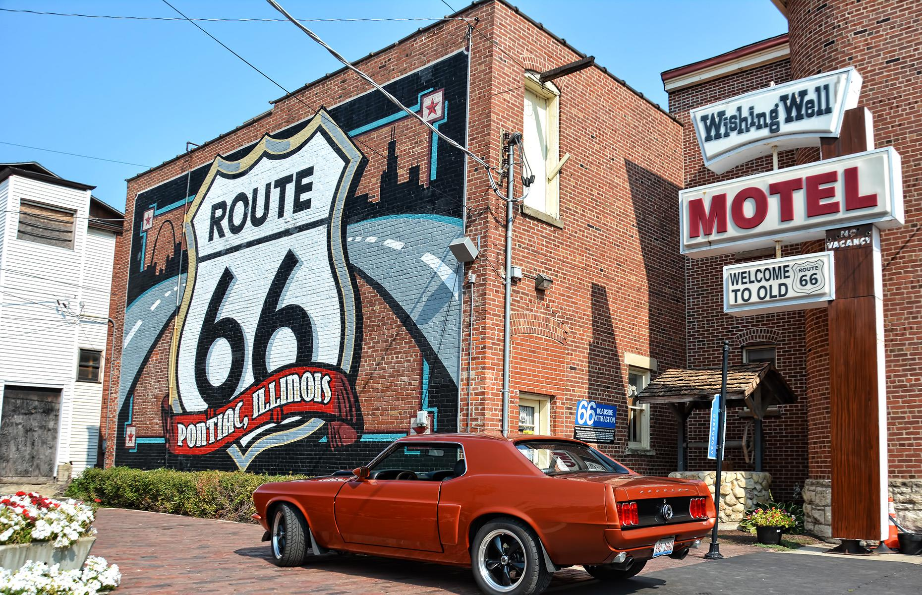 "Slide 27 of 101: The famed Route 66 sign downtown is a favored photo stop in Chicago, and then the sights and sounds of the city dissolve into the open road. Pontiac's Illinois Route 66 Hall of Fame and Museum (pictured and currently open) is around 100 miles (161km) in, and comes crammed with memorabilia relating to ""Mother Road"". Farther on, Springfield has kitsch slices of Americana like the Cozy Dog Drive In, a drive-in-cum-Route-66-museum. The final stop is Collinsville, close to the Cahokia Mounds State Historic Site."