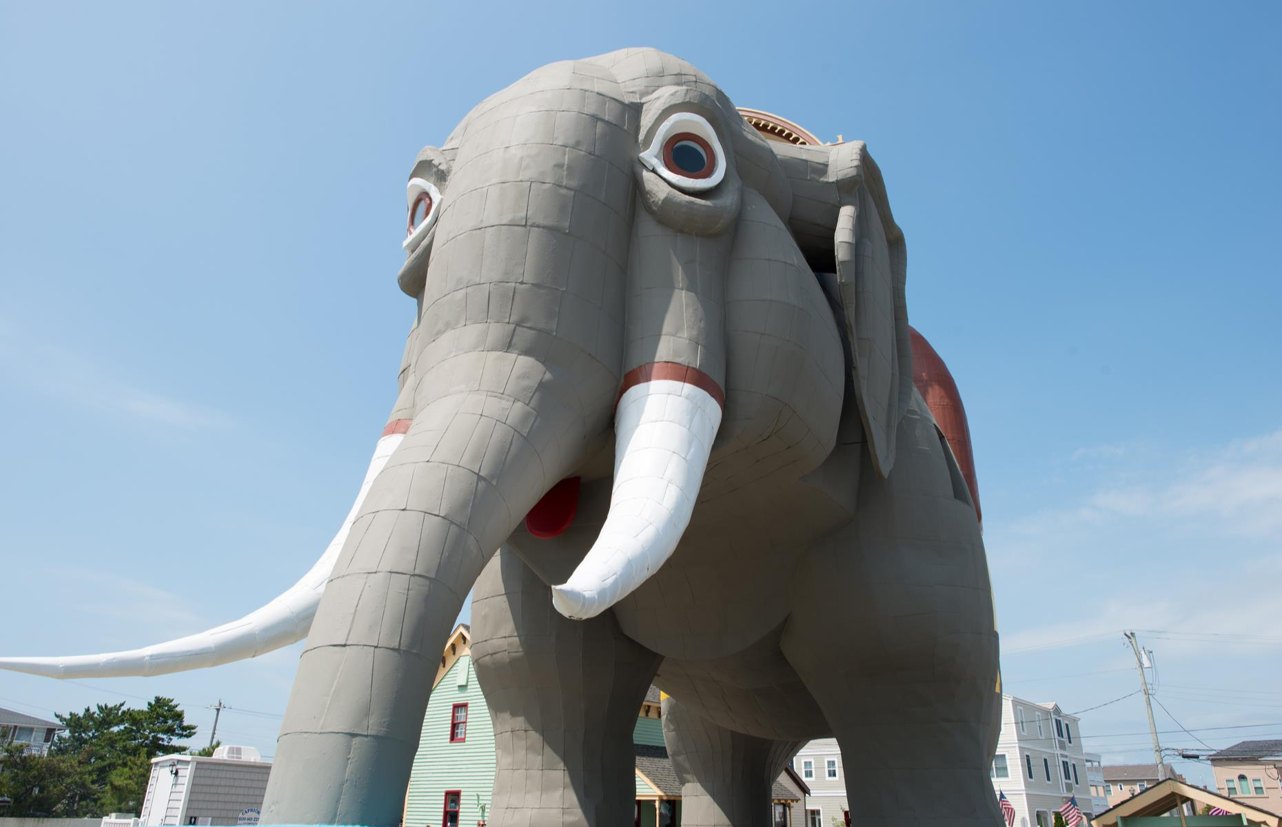 Slide 61 of 101: Feel-good Atlantic City is famed for its buzzy boardwalk, casinos and steel pier and then, out of the city proper, quirky roadside attractions begin to pop up. A highlight is Lucy the Elephant, a mammoth model elephant in Margate City (pictured). The city of Cape May sits right at the southern tip of the Cape May peninsula, near attractions such as the Cape May National Wildlife Refuge with its beaches, dunes and marshes (the FWS reminds visitors to check for park updates before heading out).